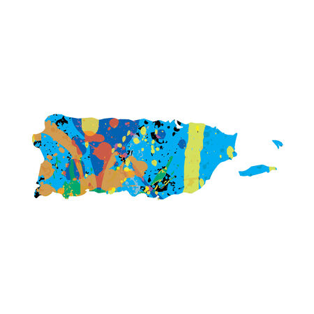 colourfully: An Illustration of a colourfully filled outline of Puerto Rico