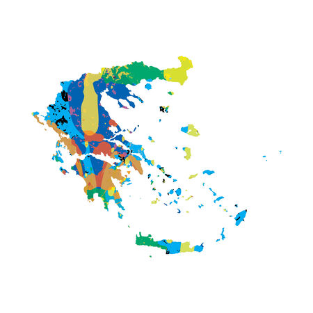 colourfully: An Illustration of a colourfully filled outline of Greece Stock Photo