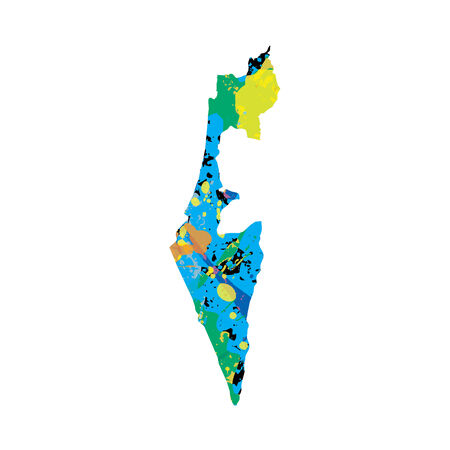 colourfully: An Illustration of a colourfully filled outline of Israel