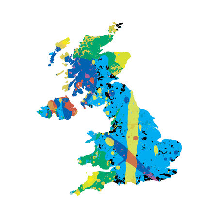 colourfully: An Illustration of a colourfully filled outline of United Kingdom Stock Photo