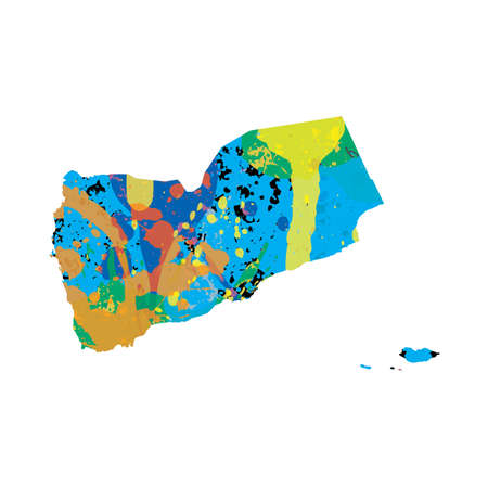 colourfully: An Illustration of a colourfully filled outline of Yemen