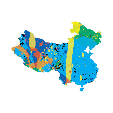 colourfully: An Illustration of a colourfully filled outline of China