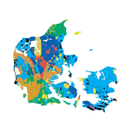 colourfully: An Illustration of a colourfully filled outline of Denmark