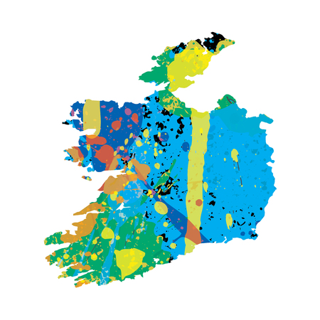 colourfully: An Illustration of a colourfully filled outline of Ireland
