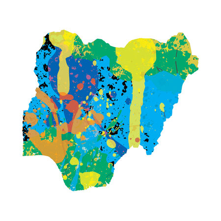 colourfully: An Illustration of a colourfully filled outline of Nigeria