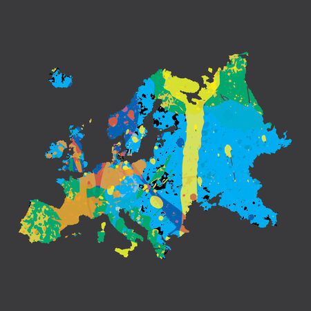 colourfully: Am Illustration of a colourfully filled outline of Europe Stock Photo