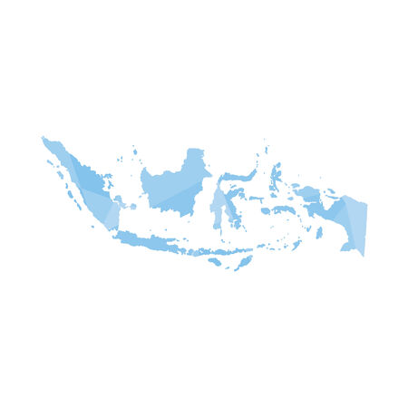 colourfully: An Illustration of a colourfully filled outline of Indonesia Illustration