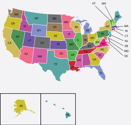 Une carte de l'États-Unis d'Amérique