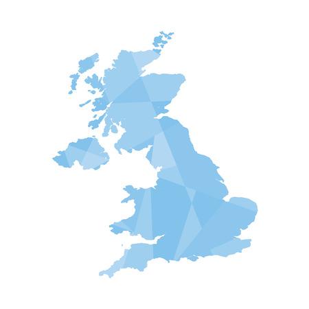 An Illustration of a colourfully filled outline of United Kingdom Illustration