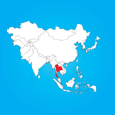 selected: A Map of Asia with a selected country of Thailand Illustration