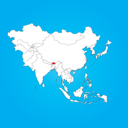 bhutan: A Map of Asia with a selected country of Bhutan Stock Illustratie