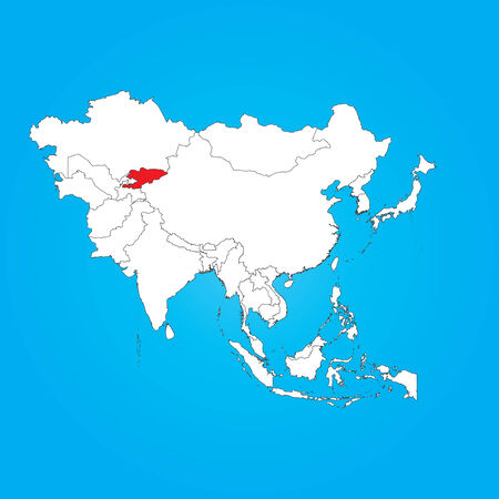 selected: A Map of Asia with a selected country of Kyrgyzstan Illustration