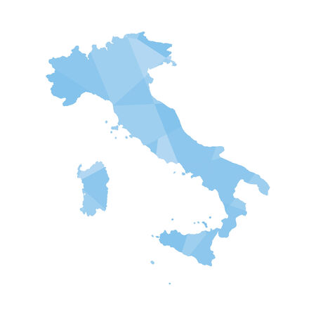 colourfully: An Illustration of a colourfully filled outline of Italy