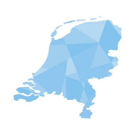 An Illustration of a colourfully filled outline of Netherlands illustration
