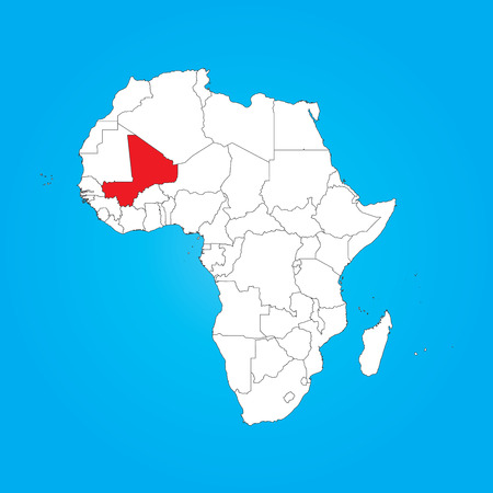 mali: A Map of Africa with a selected country of Mali Stock Photo