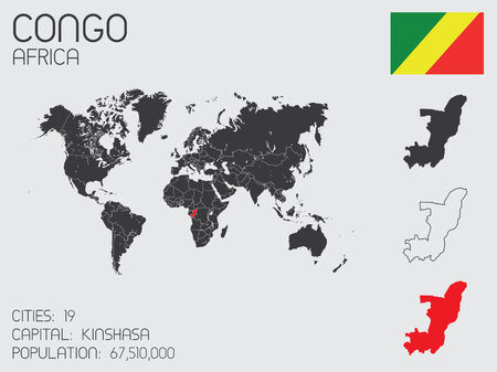 A Set of Infographic Elements for the Country of Congo Vector