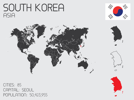 A Set of Infographic Elements for the Country of South Korea 向量圖像