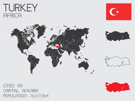 A Set of Infographic Elements for the Country of Turkey Vector