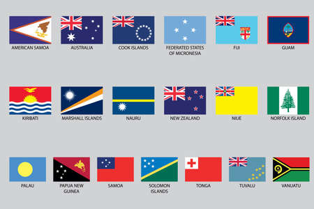 oceania: A Set of Infographic Elements for the Country of Oceania Stock Photo