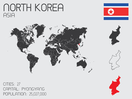 A Set of Infographic Elements for the Country of North Korea photo