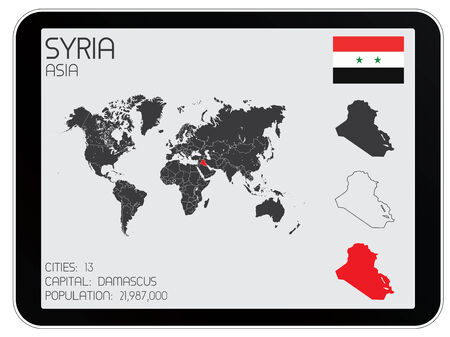 A Set of Infographic Elements for the Country of Syria Vector