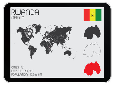 A Set of Infographic Elements for the Country of Rwanda Vector
