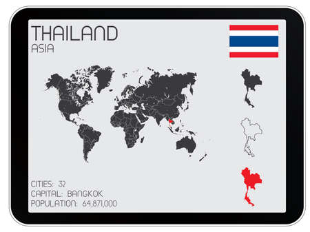 A Set of Infographic Elements for the Country of Thailand Vector