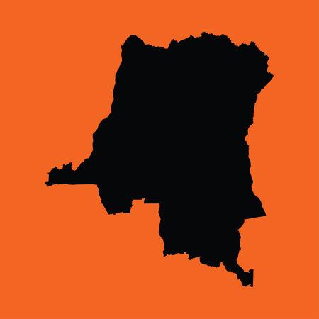 democratic republic of the congo: An Illustration on an Orange background of Democratic Republic Congo Stock Photo