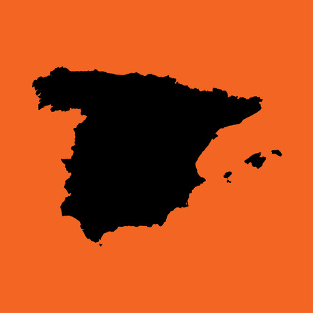 colourfully: An Illustration of a colourfully filled outline of  Spain
