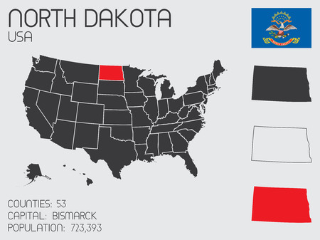 A Set of Infographic Elements for the State of North Dakota Vector