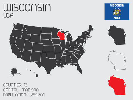 wisconsin: A Set of Infographic Elements for the State of Wisconsin Illustration