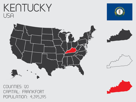 A Set of Infographic Elements for the State of Kentucky Vector