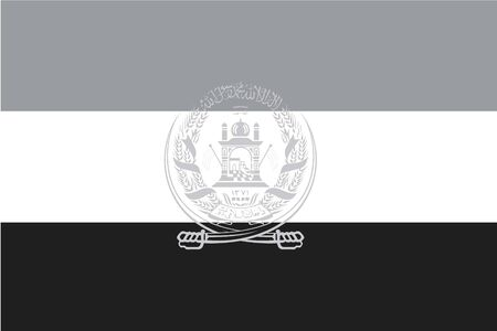 illustrated: An Illustrated grayscale flag of the country of Afghanistan