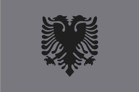 albanie: Un drapeau de niveaux de gris Illustr� du pays de l'Albanie