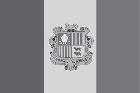 An Illustrated grayscale flag of the country of Andorra Vector