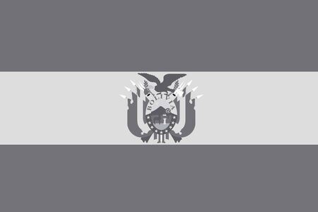 illustrated: An Illustrated grayscale flag of the country of Bolivia