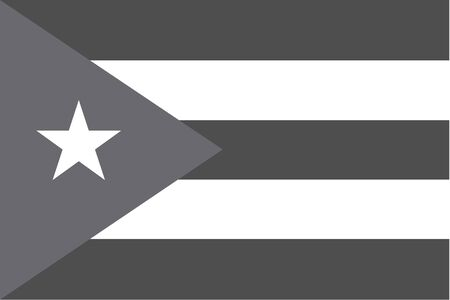 illustrated: An Illustrated grayscale flag of the country of Cuba