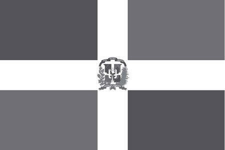 illustrated: An Illustrated grayscale flag of the country of Dominican Republic