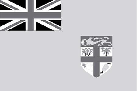 fiji: Een geïllustreerde grijstinten vlag van het land van Fiji