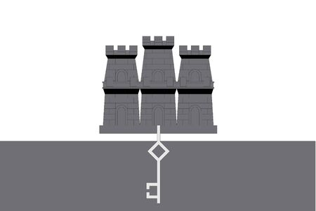 gibraltar: An Illustrated grayscale flag of the country of Gibraltar
