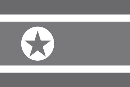 illustrated: An Illustrated grayscale flag of the country of North Korea