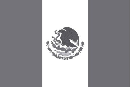 illustrated: An Illustrated grayscale flag of the country of Mexico