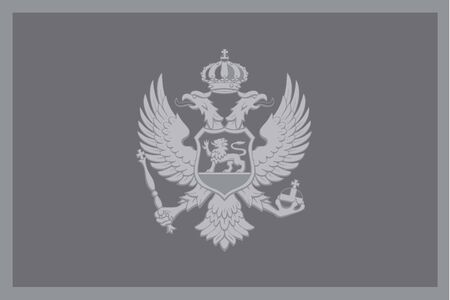 illustrated: An Illustrated grayscale flag of the country of Montenegro