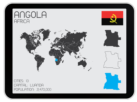 A Set of Infographic Elements for the Country of Angola Vector