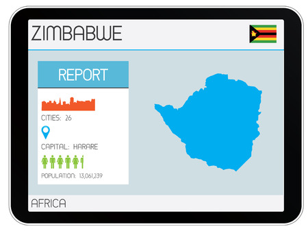 A Set of Infographic Elements for the Country of Zimbabwe Vector