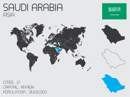 A Set of Infographic Elements for the Country of Saudi Arabia Vector