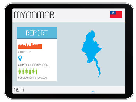 A Set of Infographic Elements for the Country of Myanmar Vector