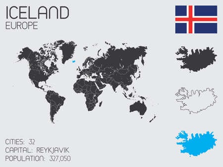 A Set of Infographic Elements for the Country of Iceland Vector
