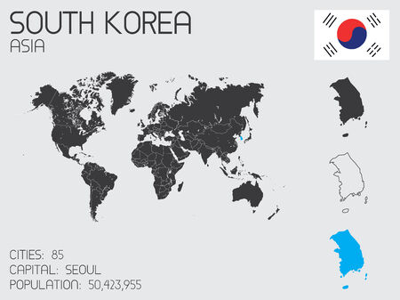 A Set of Infographic Elements for the Country of South Korea Vector