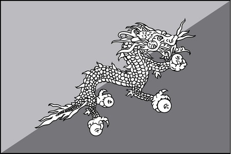 bhutan: An Illustrated grayscale flag of the country of Bhutan Stock Illustratie